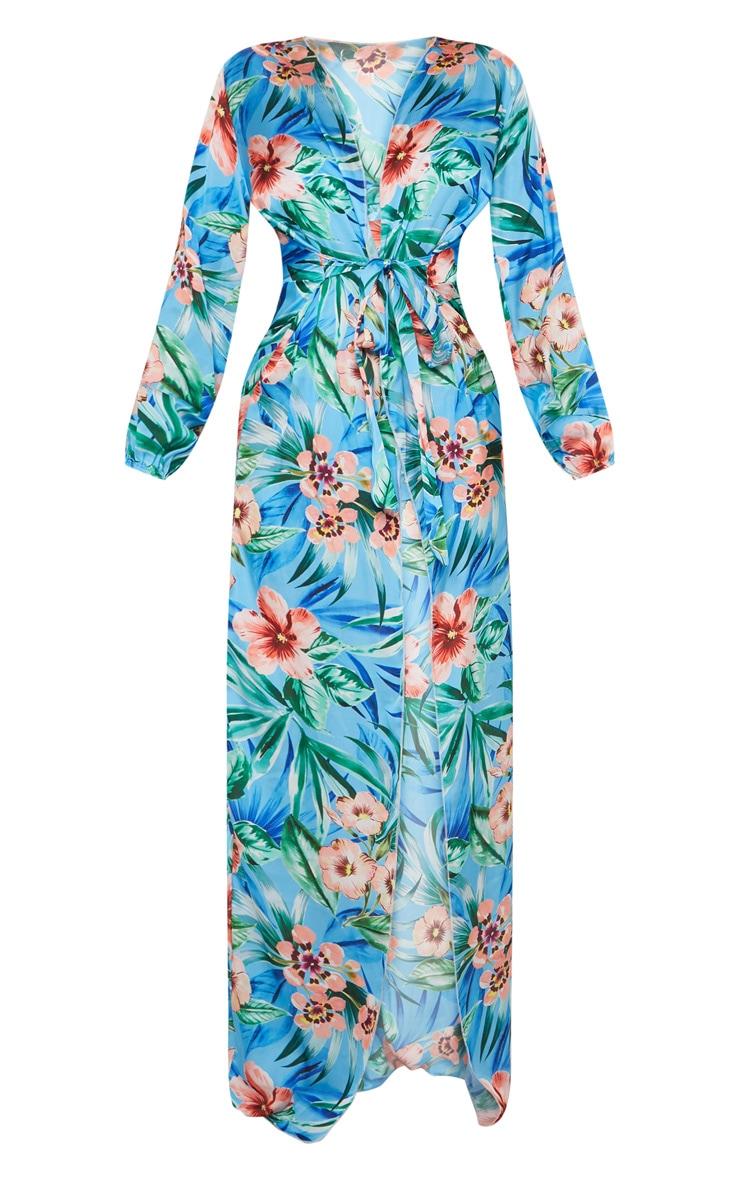 Blue Floral Satin Kimono 3