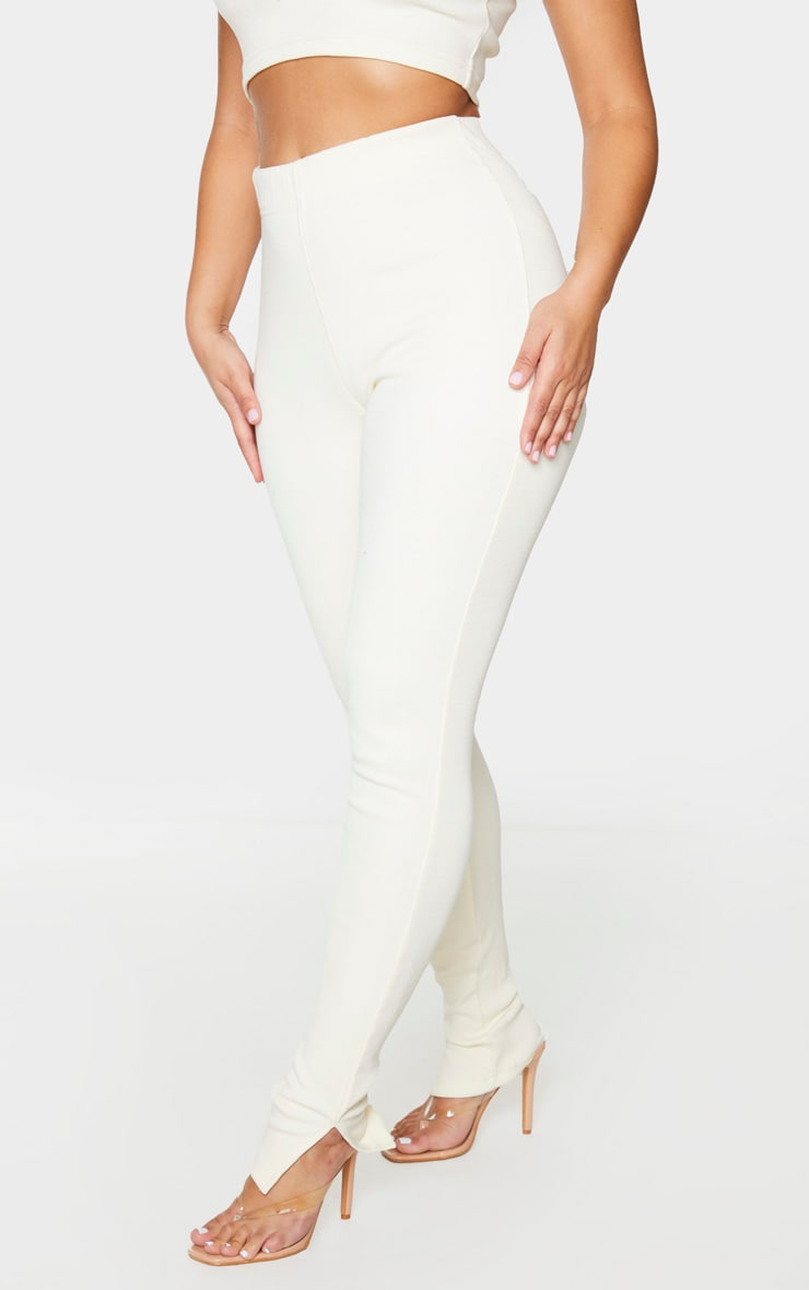 Cream Thick Rib High Waist Split Hem Pants 2