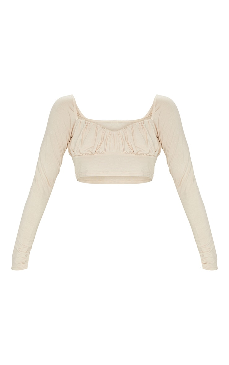 Sand Jersey Long Sleeve Ruched Crop Top 5