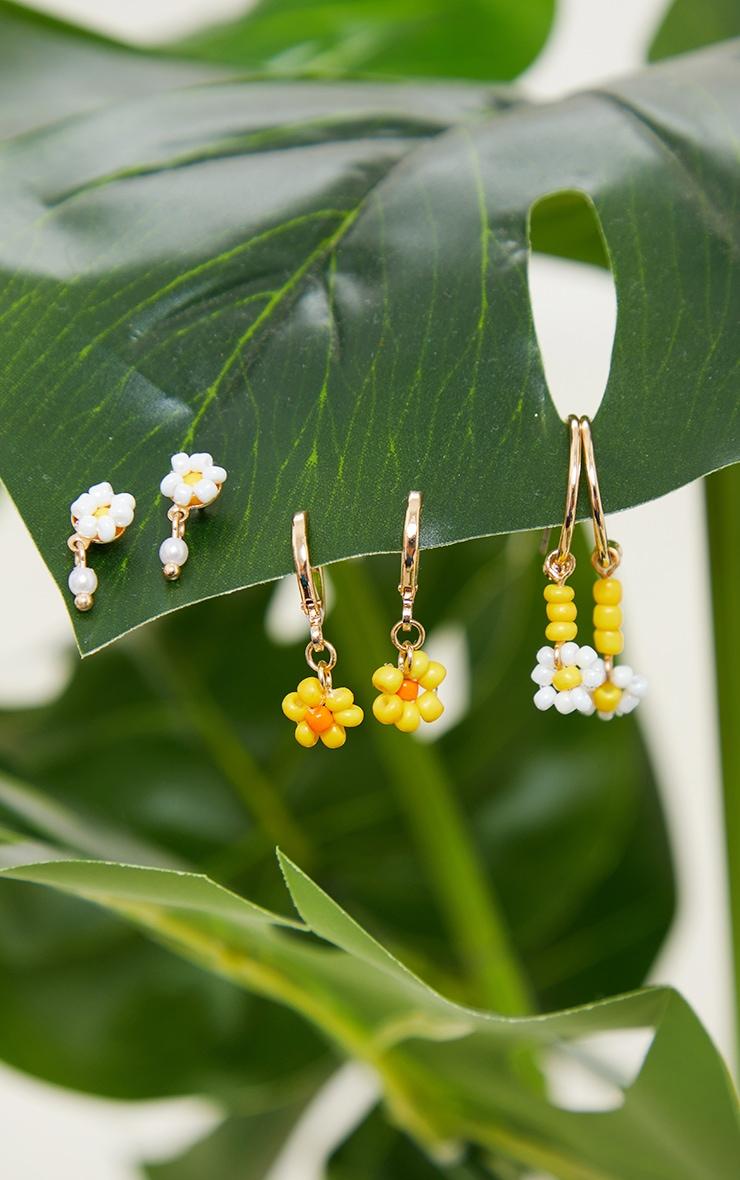 Yellow Pastel Flower Mini 3 Earring Pack 2