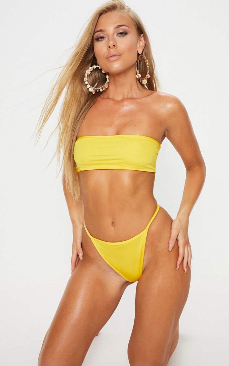Yellow Mix & Match String Thong Bikini Bottom