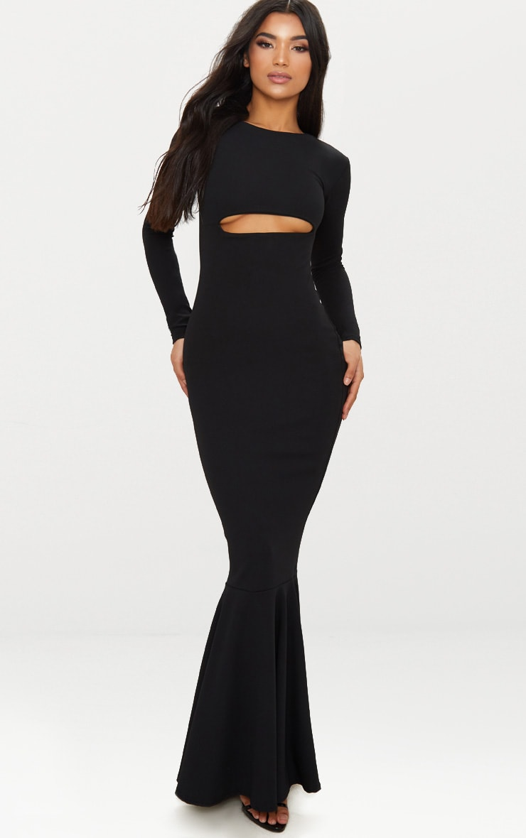 Black Cut Out Detail Long Sleeve Fishtail Maxi Dress 1