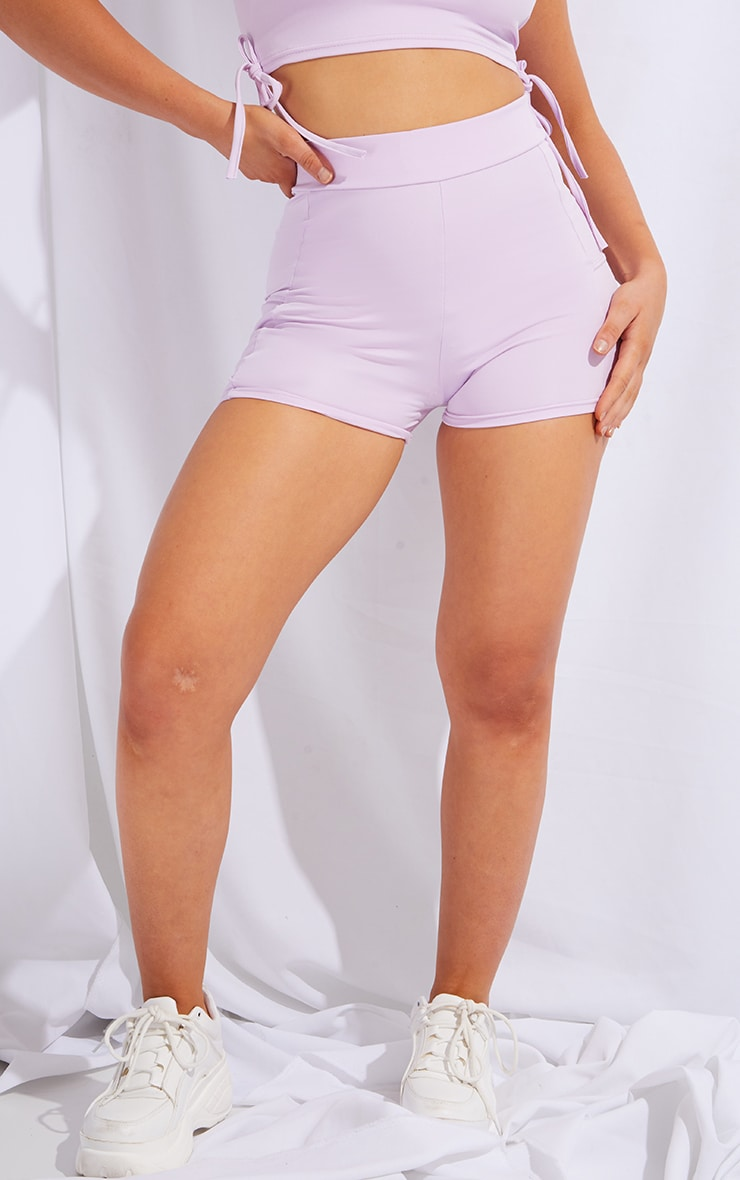 PRETTYLITTLETHING Lilac Sport Panelled Booty Shorts 2