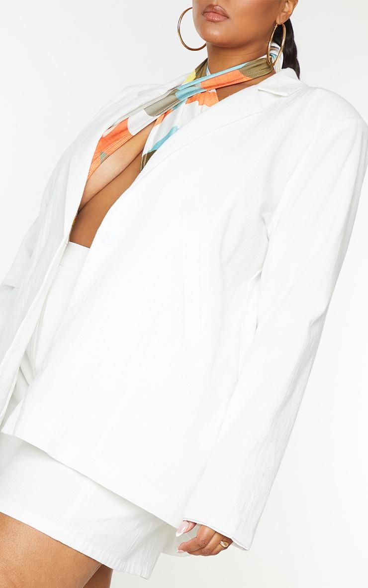 Plus White Linen Look Oversized Blazer 4