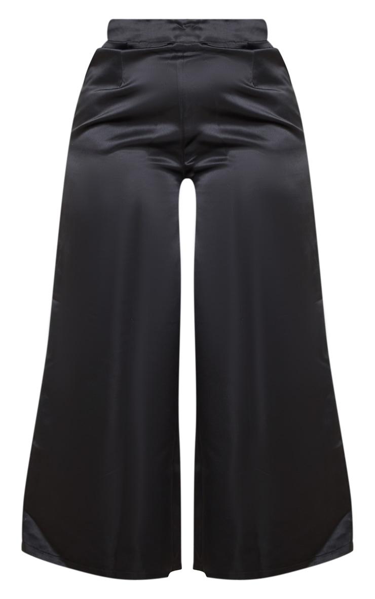 Plus Black Structured Satin Wide Leg Trouser 5