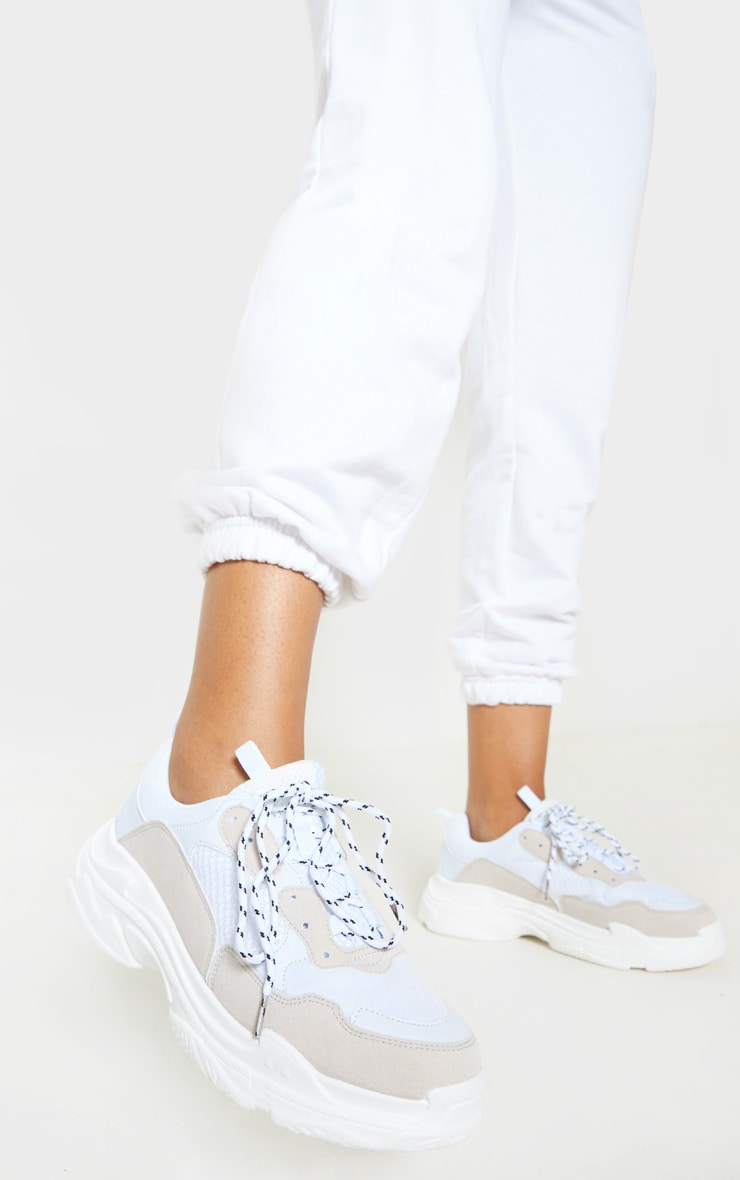 White Lace Up Chunky Trainer 2