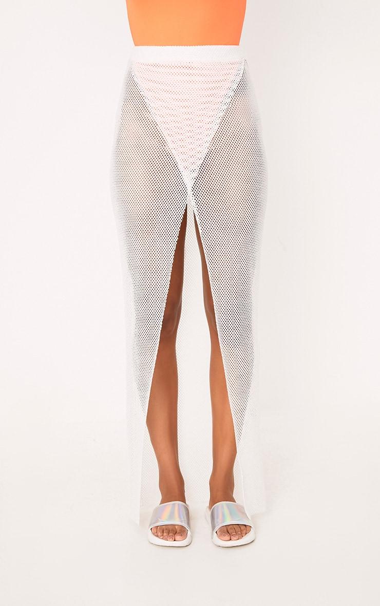 White Fishnet Wrap Over Maxi Skirt 2