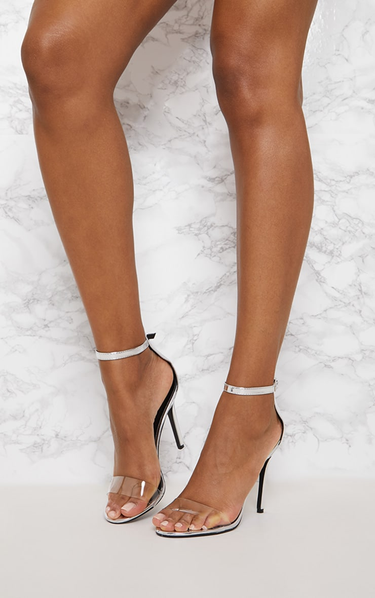 Silver Patent Clear Strap High Heels 2