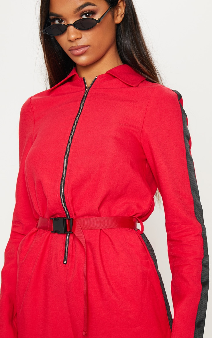 Red Utility Belted Jumpsuit 5