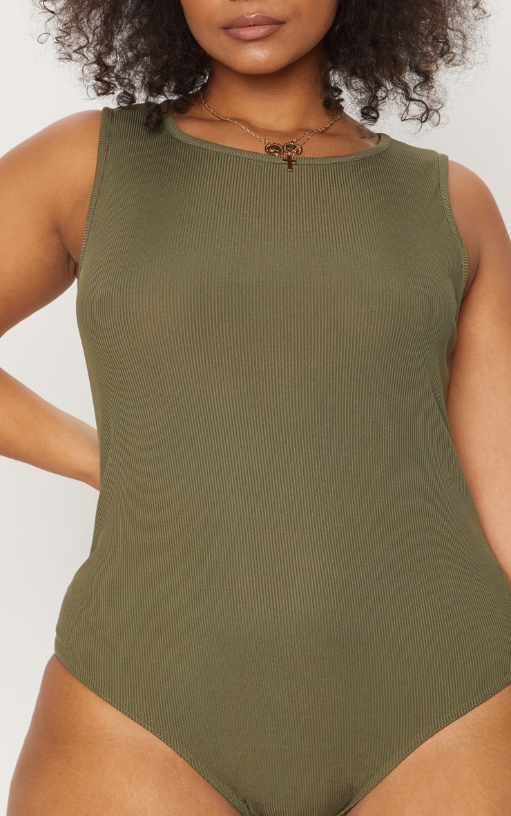 Plus Khaki Ribbed Sleeveless Bodysuit 4