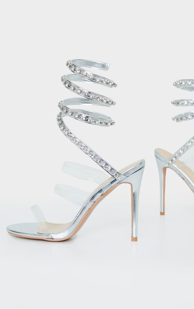 Silver Diamante Embellished Ankle Wrap Sandal 3