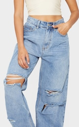 Petite Light Blue Wash Baggy Low Rise Ripped Boyfriend Jeans 4