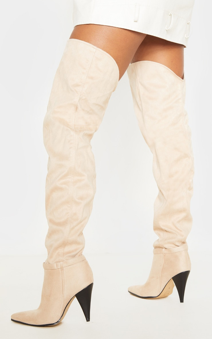 Nude Cone Heel Slouch Thigh Boot 2