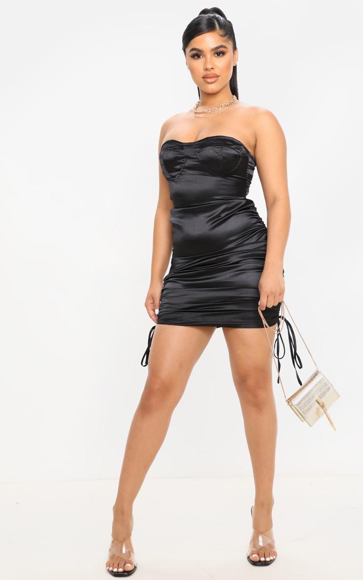 Petite Black Corset Detail Ruched Side Satin Mini Dress  4