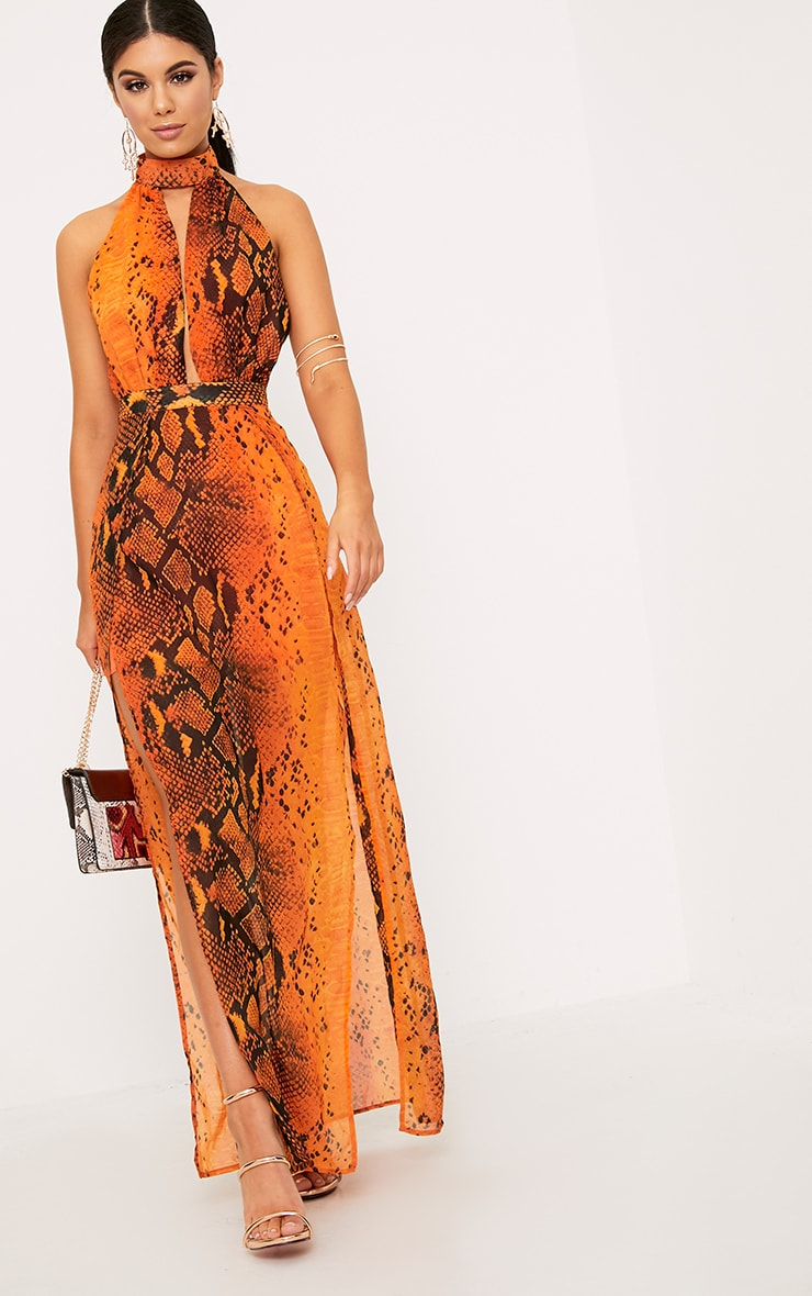 Leala Orange Snake Print Maxi Dress 4