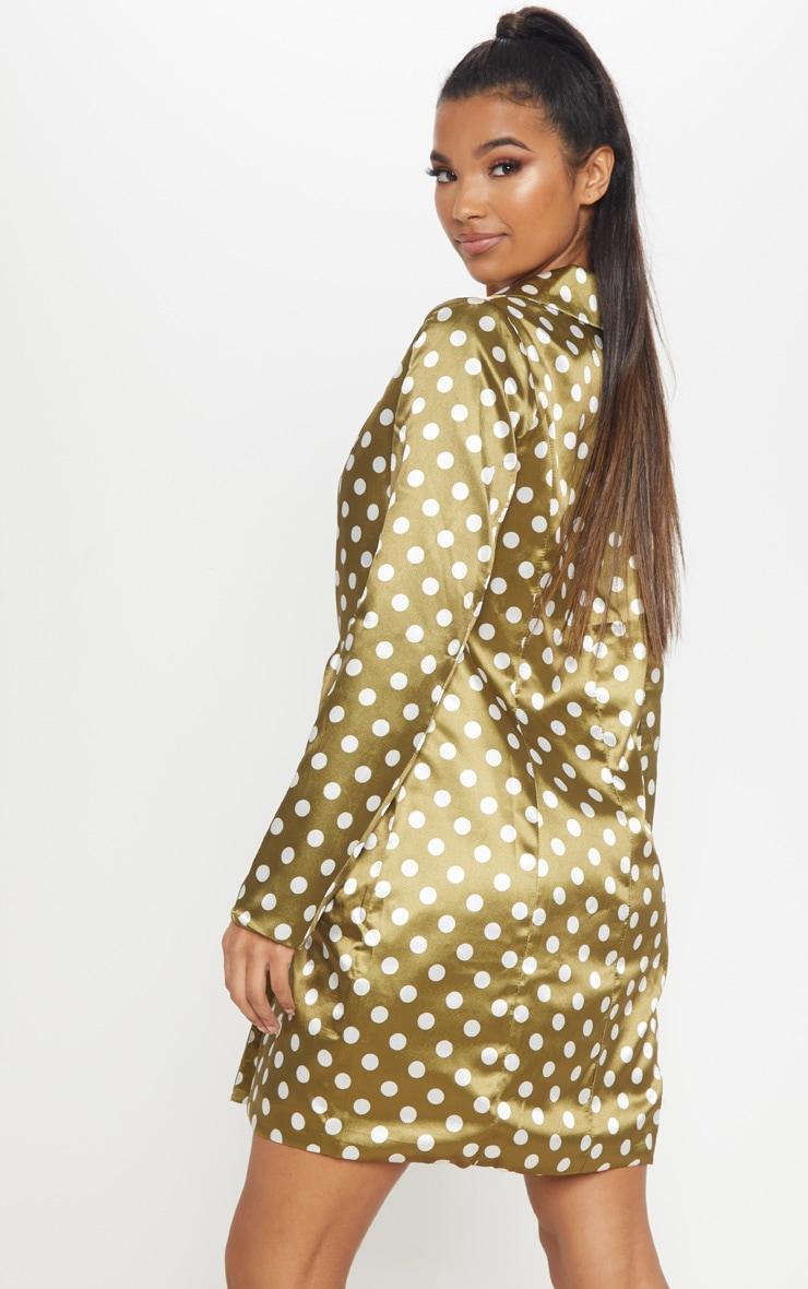 Khaki Polka Dot Satin Blazer Dress 2