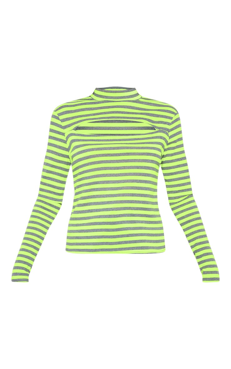 Neon Lime Neon Stripe Cut Out Long Sleeve Top 3