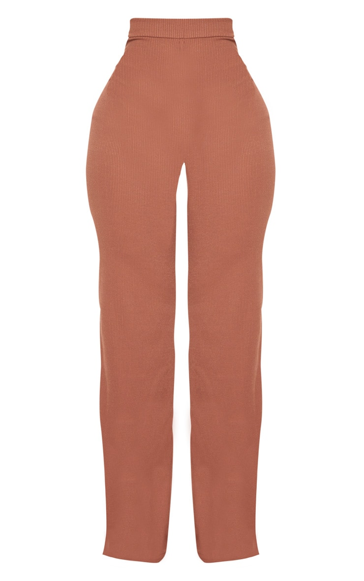 Shape Chocolate Ribbed Wide Leg Trousers 3