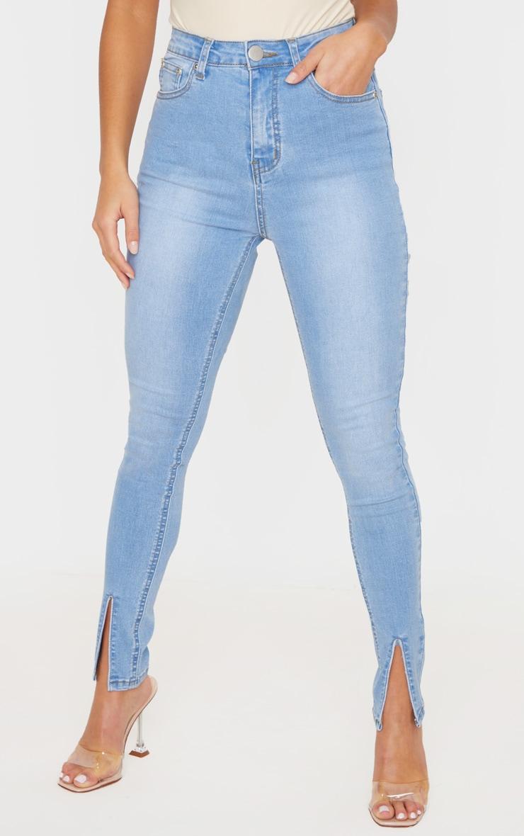 Petite Light Blue Wash Split Front Skinny Jean 2