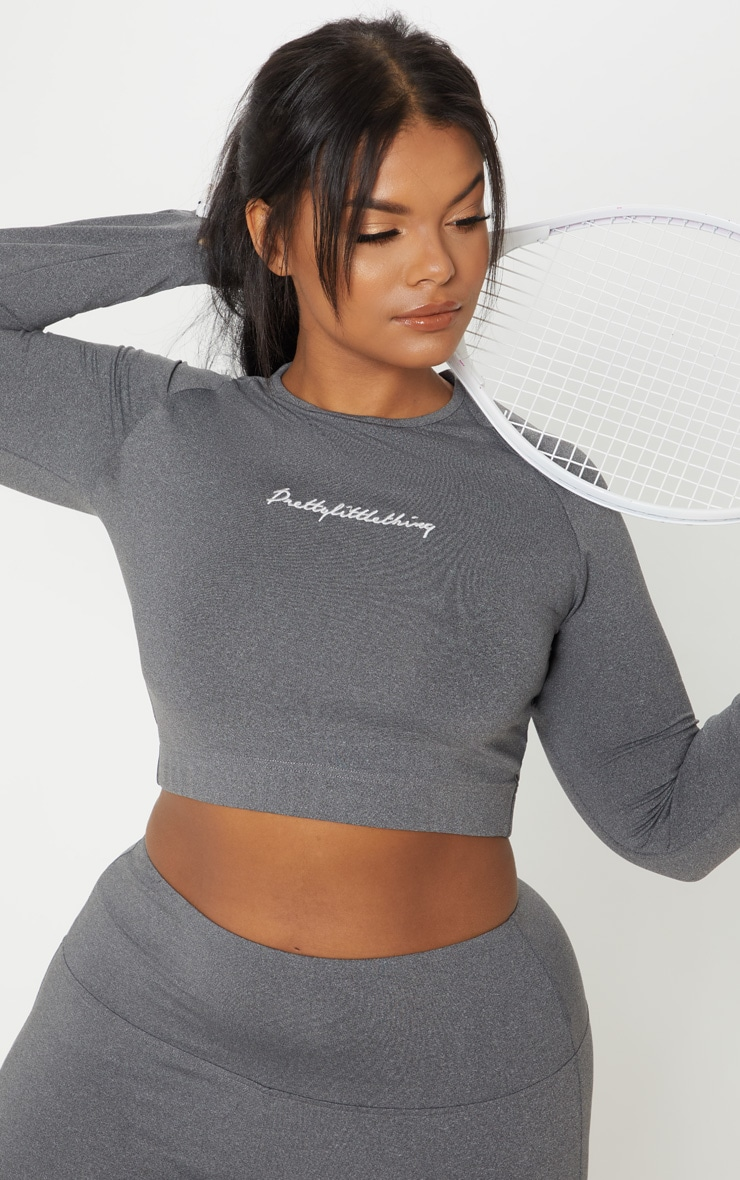 PRETTYLITTLETHING Plus Charcoal Embroidered Long Sleeve Crop Top 5