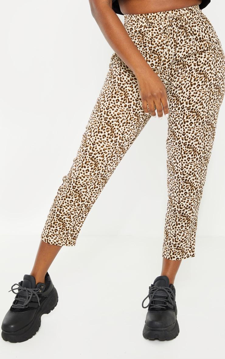 Petite Cream Leopard Print Casual Pants 2