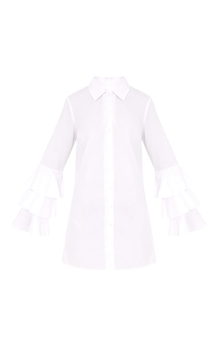 Lupeatarr Triple Frill White Sleeve Shirt Dress 3