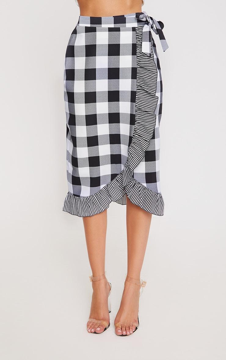 Black Contrast Frill Hem Gingham Midi Skirt 2