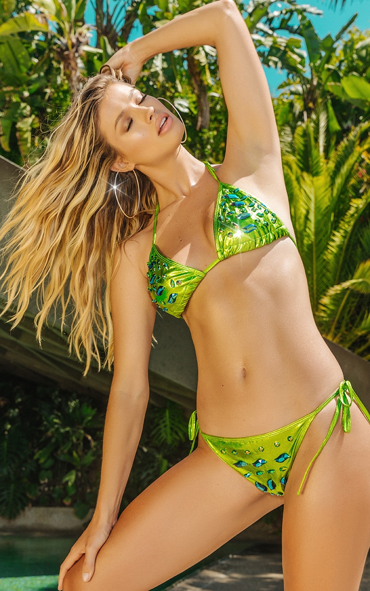 Premium Green Metallic Jewelled  Tie Side Pool Party Bottom 1