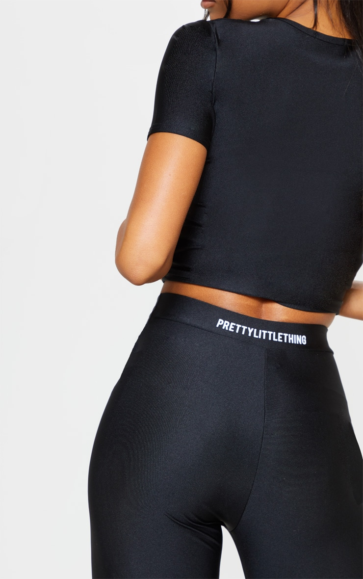 PRETTYLITTLETHING Black Basic Logo Gym Leggings 4
