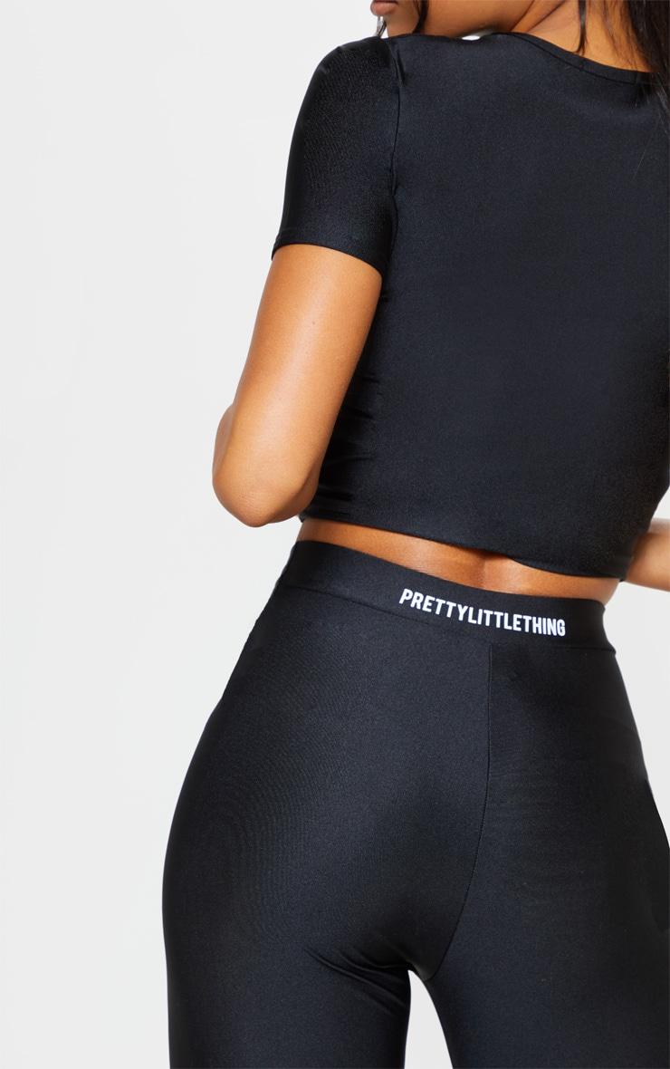 PRETTYLITTLETHING Black Basic Logo Gym Leggings 4