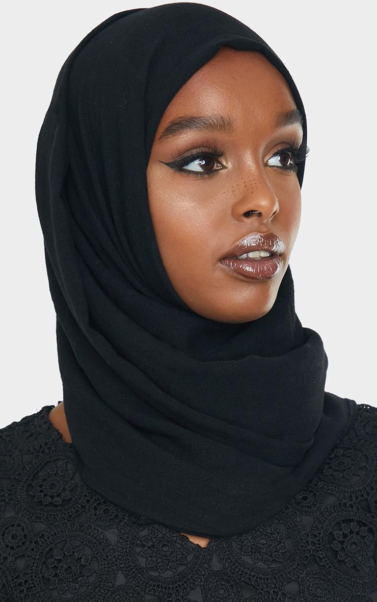 Black Woven Tie Back Head Scarf 1