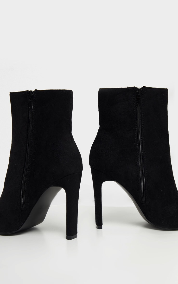 Black Wide Fit Flat Heel Point Ankle Boot 4