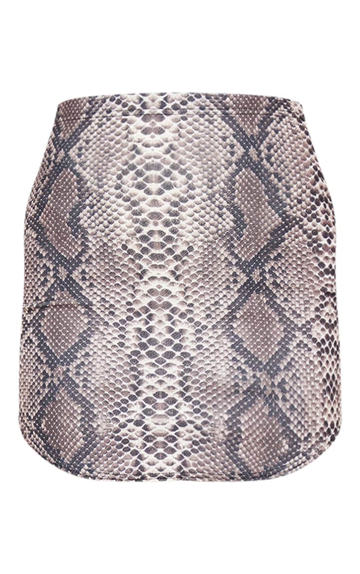 Angelia Brown Curve Hem Snake Print Mini Skirt 3