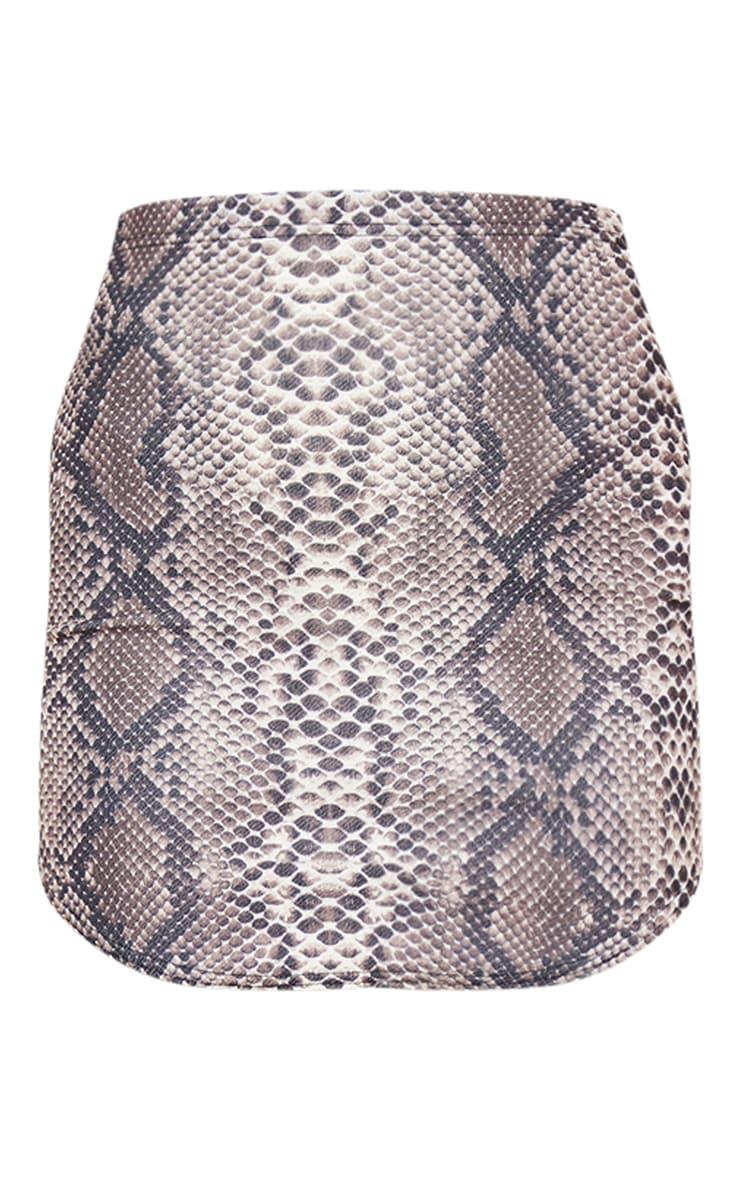 Angelia minijupe marron à imprimé serpent et ourlet arrondi 3