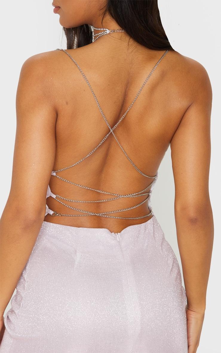 Lilac Textured Glitter Chain Strap Bodycon Dress 5