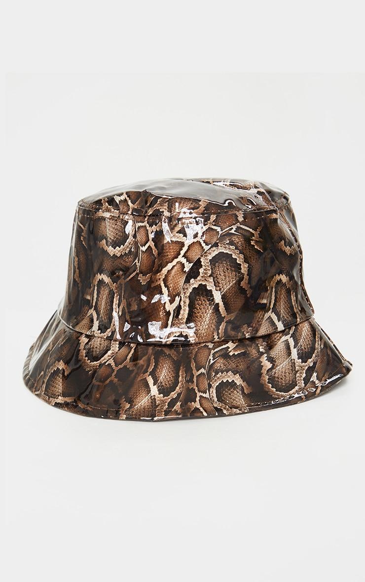 Brown Coated Snakeskin Bucket Hat 2