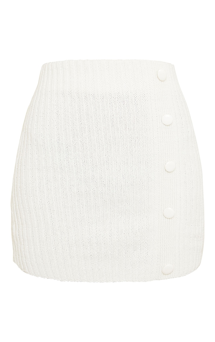 Cream Ribbed Knitted Button Mini Skirt 6