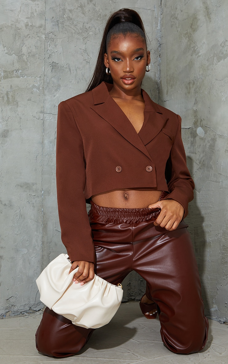 Chocolate Woven Cropped Shoulder Padded Blazer 4