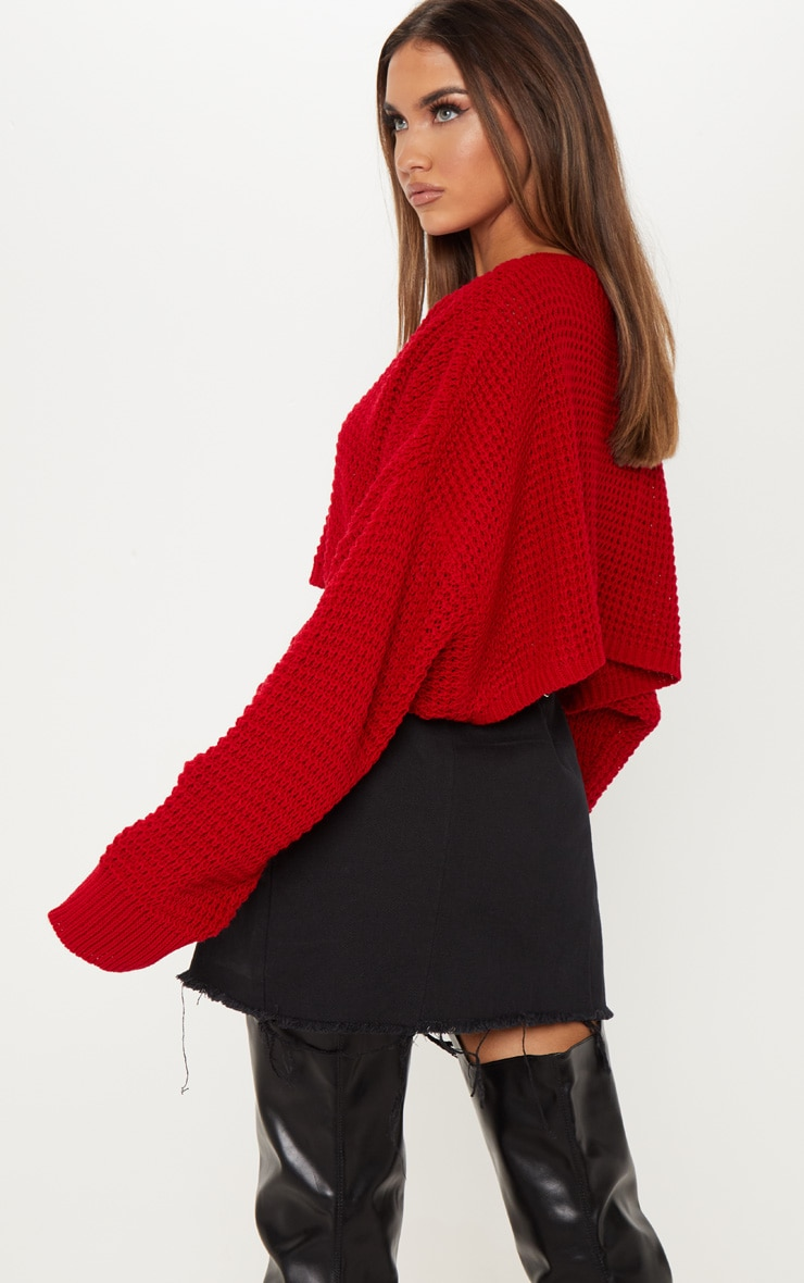 Red Fisherman Knitted Super Cropped Sweater 2