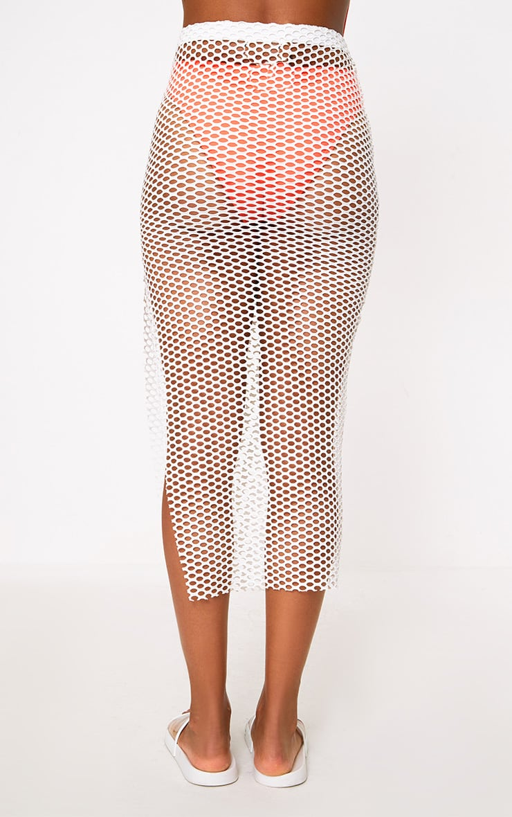 Cream Fishnet Knotted Maxi Skirt 4