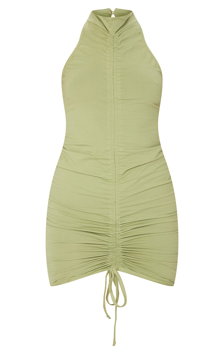 Sage Green Ruched Front Halterneck Bodycon Dress 5