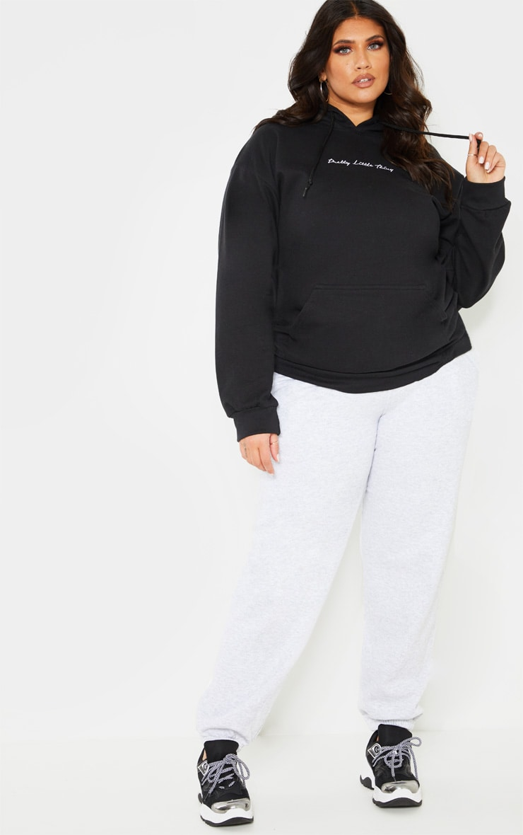 PRETTYLITTLETHING Plus Black Embroidered Oversized Hoodie 4