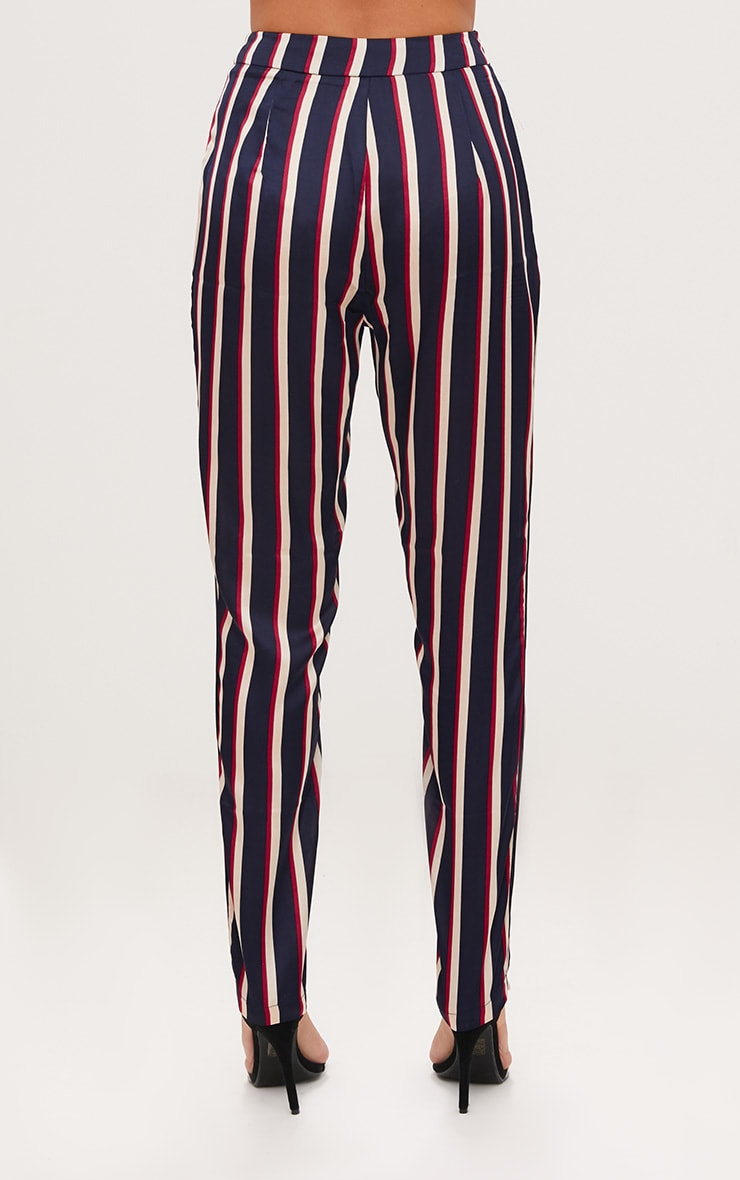 Navy Satin Diagonal Stripe Peg Trouser  4