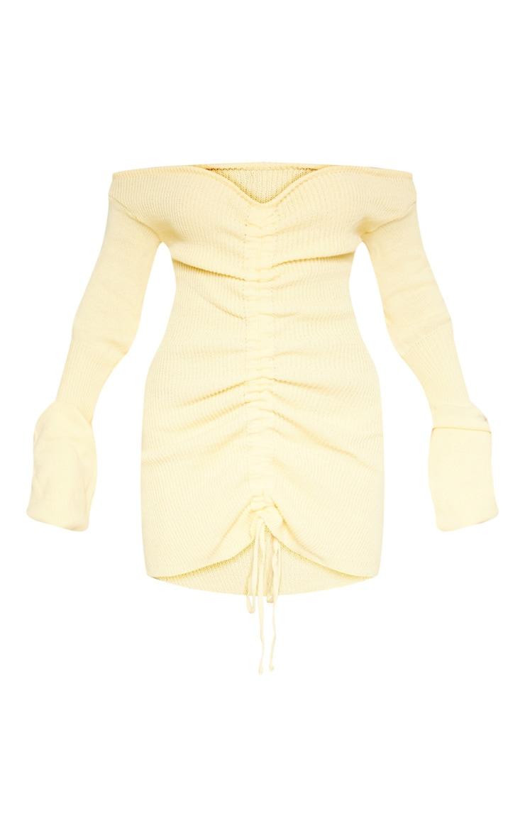 Lemon Ruched Knit Dress 3