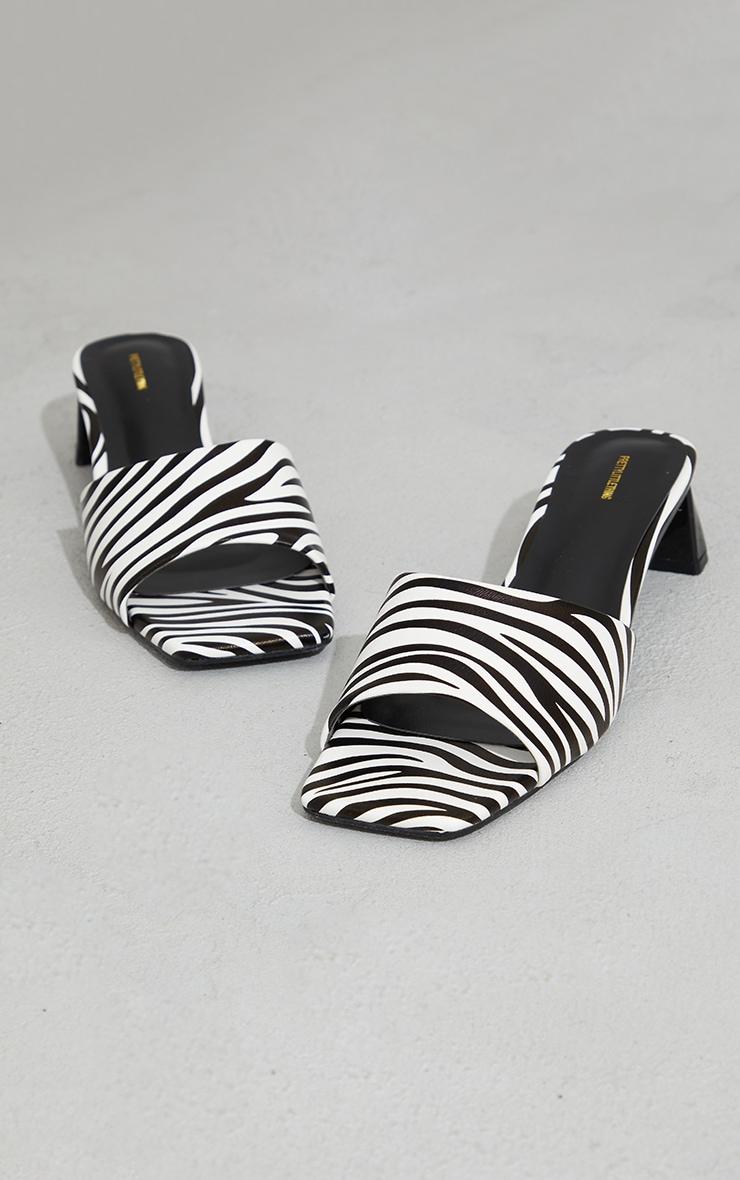 White Zebra Print Low Block Flare Heel Mules 4