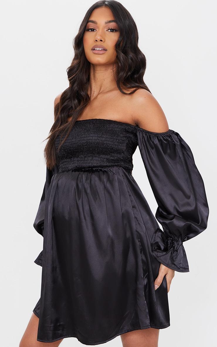 Maternity Black Satin Shirred Mini Dress 1