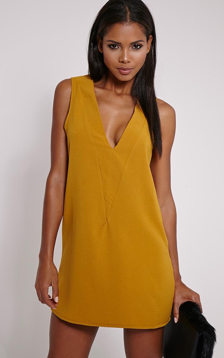 Haelyn Mustard Plunge V Shape Loose Fit Binding Dress 1