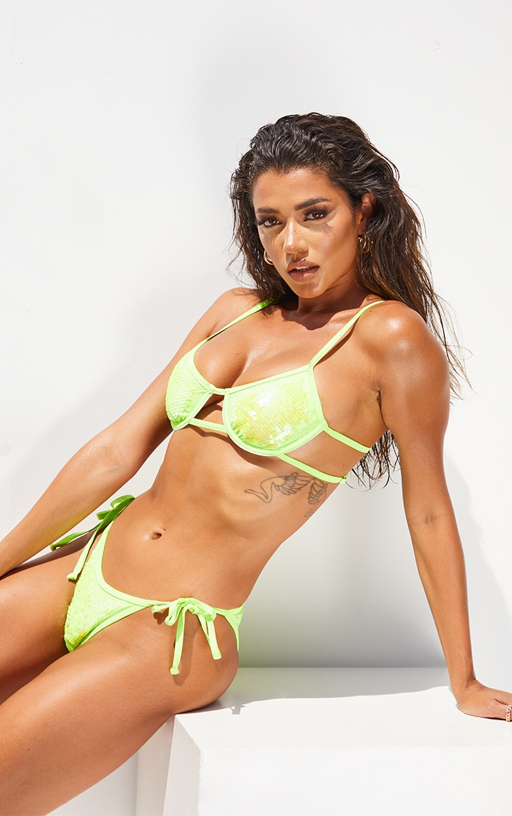 Lime Sequin Underwired Bikini Top 1