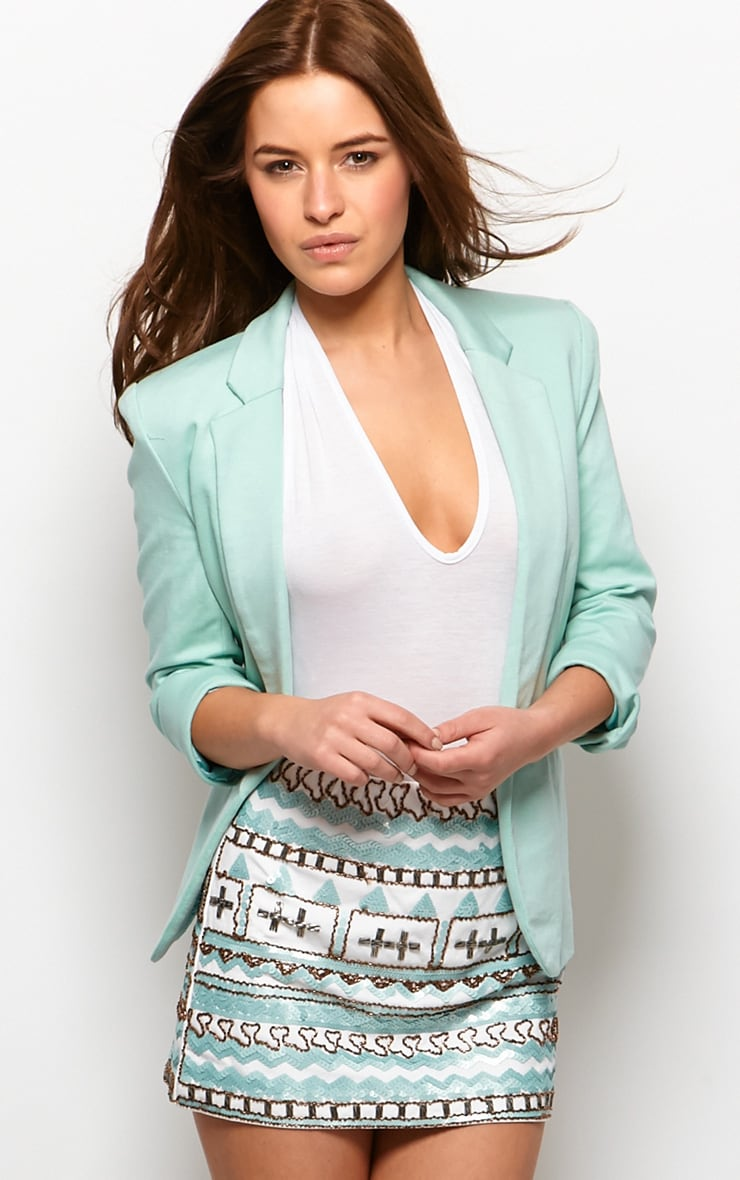 Clara Mint Structured Shoulder Blazer 1