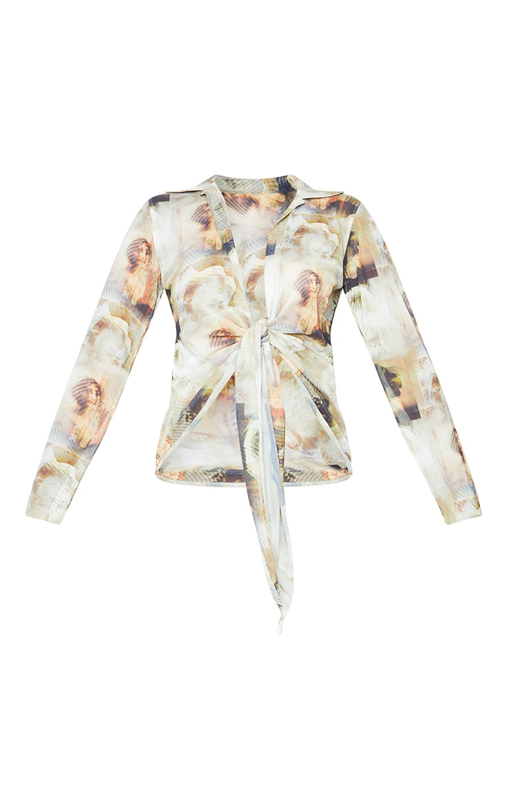 Nude Mesh Abstract Renaissance Print Plunge Tie Front Long Sleeve Shirt 5